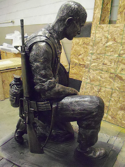 bronze fallen hero statue, solid bronze