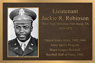 bronze military cast plaque jackie robinson